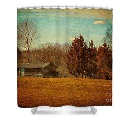 Behind The Village Shower Curtain by Jutta Maria Pusl
