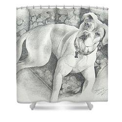 Bella My Pup Shower Curtain by Joette Snyder
