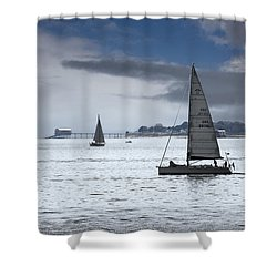 Bembridge Pier From Gosport Shower Curtain by Terri Waters