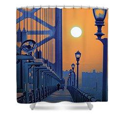 Ben Franklin Bridge Walkway Shower Curtain by Bill Cannon