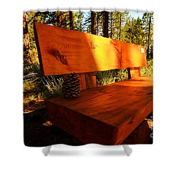 Bench In The Woods Shower Curtain by Cheryl Young