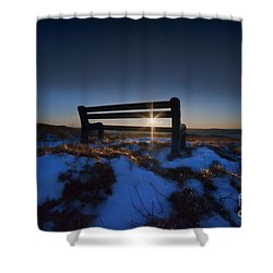 Bench On Top Of Mountain At Sunset Shower Curtain by Dan Friend