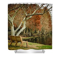 Bench With A View Shower Curtain by Carolyn Marshall