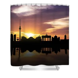 Berlin Sunset Skyline  Shower Curtain by Aged Pixel