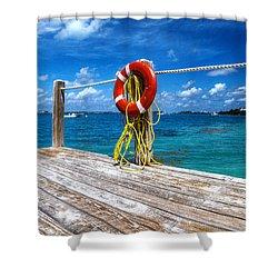 Bermuda Lifebelt Bite Shower Curtain by Richard Reeve