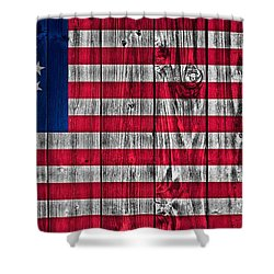Betsy Ross American Flag Barn Shower Curtain by Dan Sproul