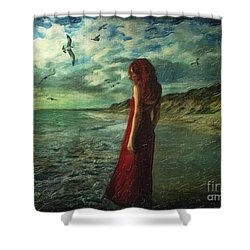 Between Sea And Shore Shower Curtain by Lianne Schneider