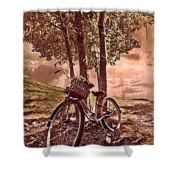 Bicycle In The Park Shower Curtain by Debra and Dave Vanderlaan