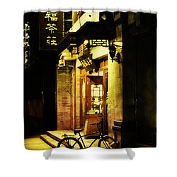 Bicycle On The Streets Of Beijing At Night Shower Curtain by Jani Bryson