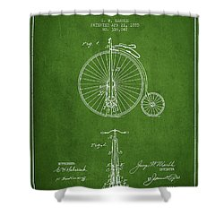 Bicycle Patent Drawing From 1885 - Green Shower Curtain by Aged Pixel