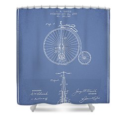 Bicycle Patent Drawing From 1885 - Light Blue Shower Curtain by Aged Pixel