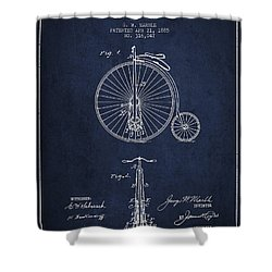 Bicycle Patent Drawing From 1885 - Navy Blue Shower Curtain by Aged Pixel