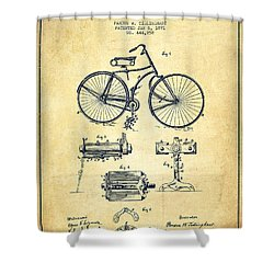 Bicycle Patent Drawing From 1891 - Vintage Shower Curtain by Aged Pixel