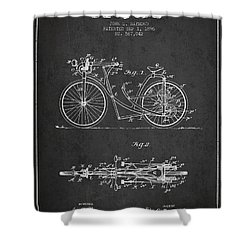 Bicycle Patent Drawing From 1896 - Dark Shower Curtain by Aged Pixel