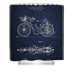 Bicycle Patent Drawing From 1896 - Navy Blue Shower Curtain by Aged Pixel