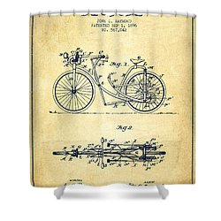Bicycle Patent Drawing From 1896 - Vintage Shower Curtain by Aged Pixel