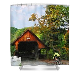 Bicyclist At Middle Bridge Woodstock Vt Shower Curtain by Susan Savad