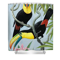 Big-beaked Birds Shower Curtain by RB Davis