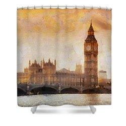 Big Ben At Dusk Shower Curtain by Pixel Chimp