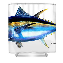 Big Eye Tuna Shower Curtain by Carey Chen