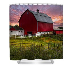 Big Red At Sunset Shower Curtain by Debra and Dave Vanderlaan