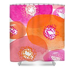 Big Spring Flowers- Contemporary Watercolor Painting Shower Curtain by Linda Woods