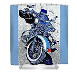 Bike In Blue For Two Shower Curtain by Ben and Raisa Gertsberg