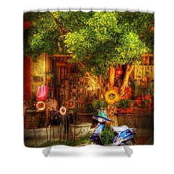 Bike - Scooter - Sitting Amongst Urban Flowers Shower Curtain by Mike Savad