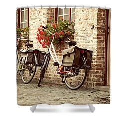 Bikes In The School Yard Shower Curtain by Juli Scalzi