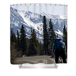 Biking Denali Style Shower Curtain by Tara Lynn