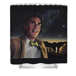 Bill Nye - A Candle In The Dark Shower Curtain by Simon Kregar