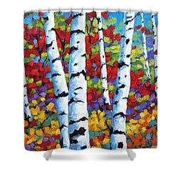 Birches In Abstract By Prankearts Shower Curtain by Richard T Pranke