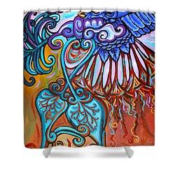 Bird Heart Iv Shower Curtain by Genevieve Esson
