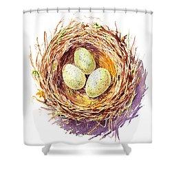 Bird Nest A Happy Trio Shower Curtain by Irina Sztukowski