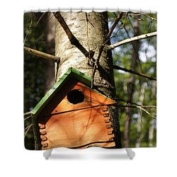 Birdhouse By Line Gagne Shower Curtain by Line Gagne