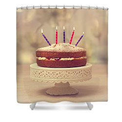 Birthday Cake Shower Curtain by Amanda Elwell