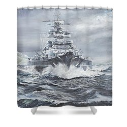 Bismarck Off Greenland Coast  Shower Curtain by Vincent Alexander Booth