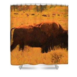 Bison Shower Curtain by Jo-Anne Gazo-McKim