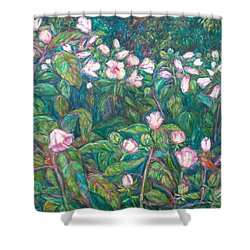 Bisset Park Hibiscus Shower Curtain by Kendall Kessler