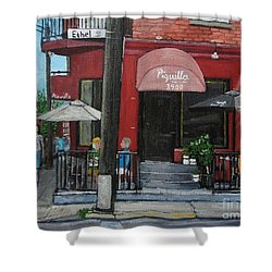 Bistro Piquillo In Verdun Shower Curtain by Reb Frost