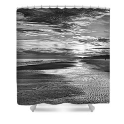 Black And White Beach Shower Curtain by Phill Doherty