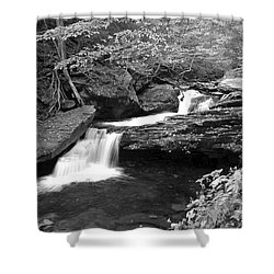 Black And White Cascade Shower Curtain by Frozen in Time Fine Art Photography