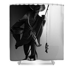 Black And White Ivory Fisherman Shower Curtain by Sean Kirkpatrick
