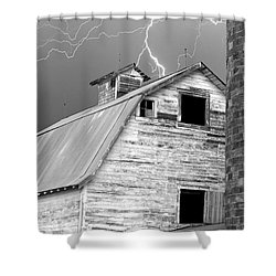 Black And White Old Barn Lightning Strikes Shower Curtain by James BO  Insogna