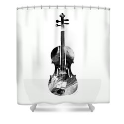 Black And White Violin Art By Sharon Cummings Shower Curtain by Sharon Cummings