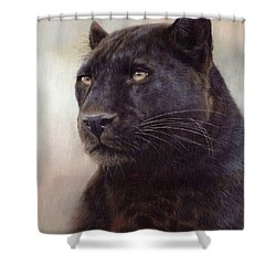 Black Leopard Painting Shower Curtain by Rachel Stribbling