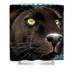 Black Panther Shower Curtain by Jurek Zamoyski