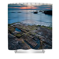 Black Rock Shower Curtain by Davorin Mance