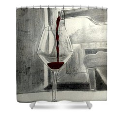 Black White And Red Wine Shower Curtain by Chenee Reyes