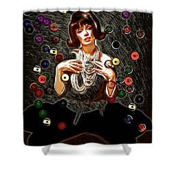 Black Wig Mm Shower Curtain by Daniel Janda